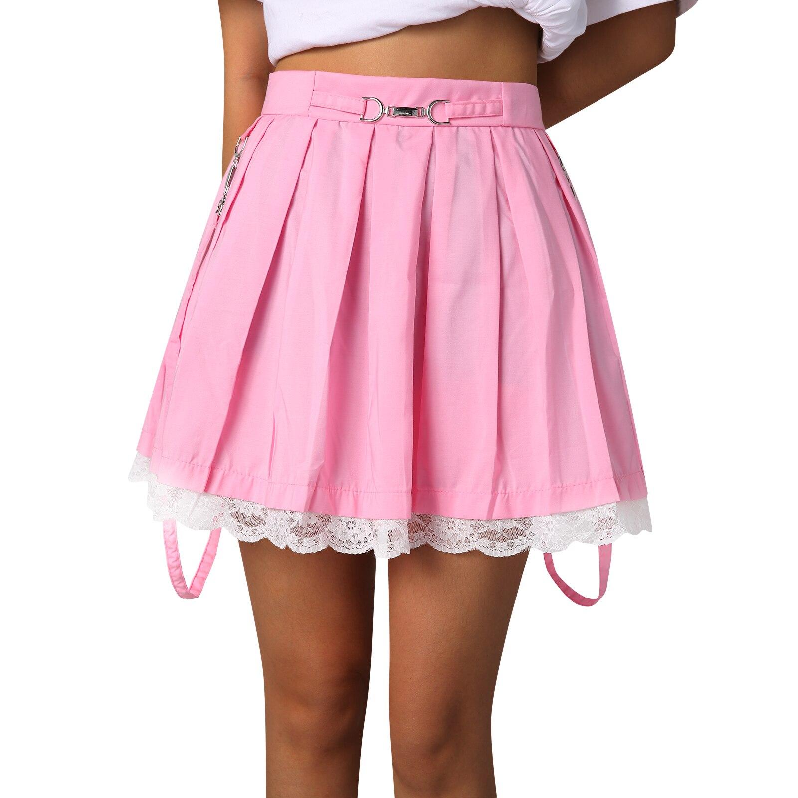 Женская юбка мини-юбка плиссе юбки уличная Harakuju с высокой талией юбка с кружевом летняя юбка для маленьких девочек Милая юбка в складку Женс...