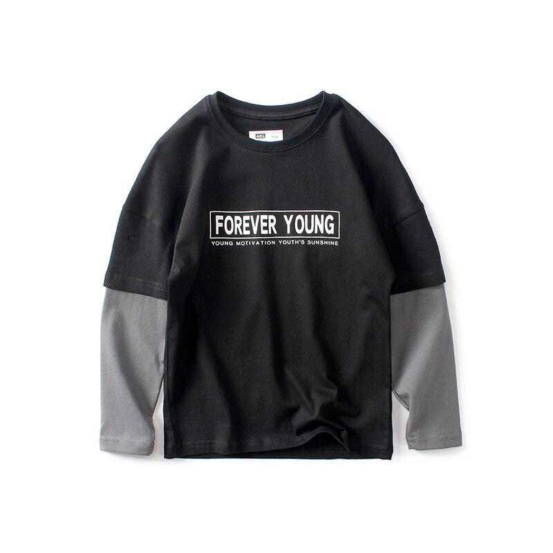 Купить с кэшбэком Teens Boys Girls T-shirt New Cartoon Splicing Long Sleeve T Shirt Children's Casual Fashion Kids Cotton Tops For 6-14 Years