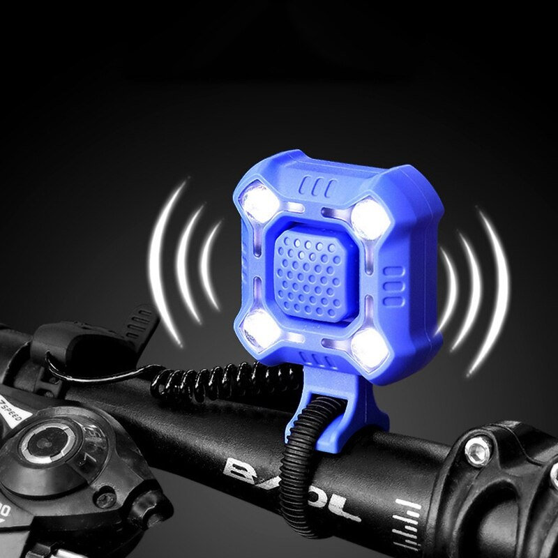 2 en 1 luz Ling de bicicleta 140db USB de carga de bicicleta de montaña de carretera con manija delantera electrónica impermeable lámpara de cuerno de bicicleta bell
