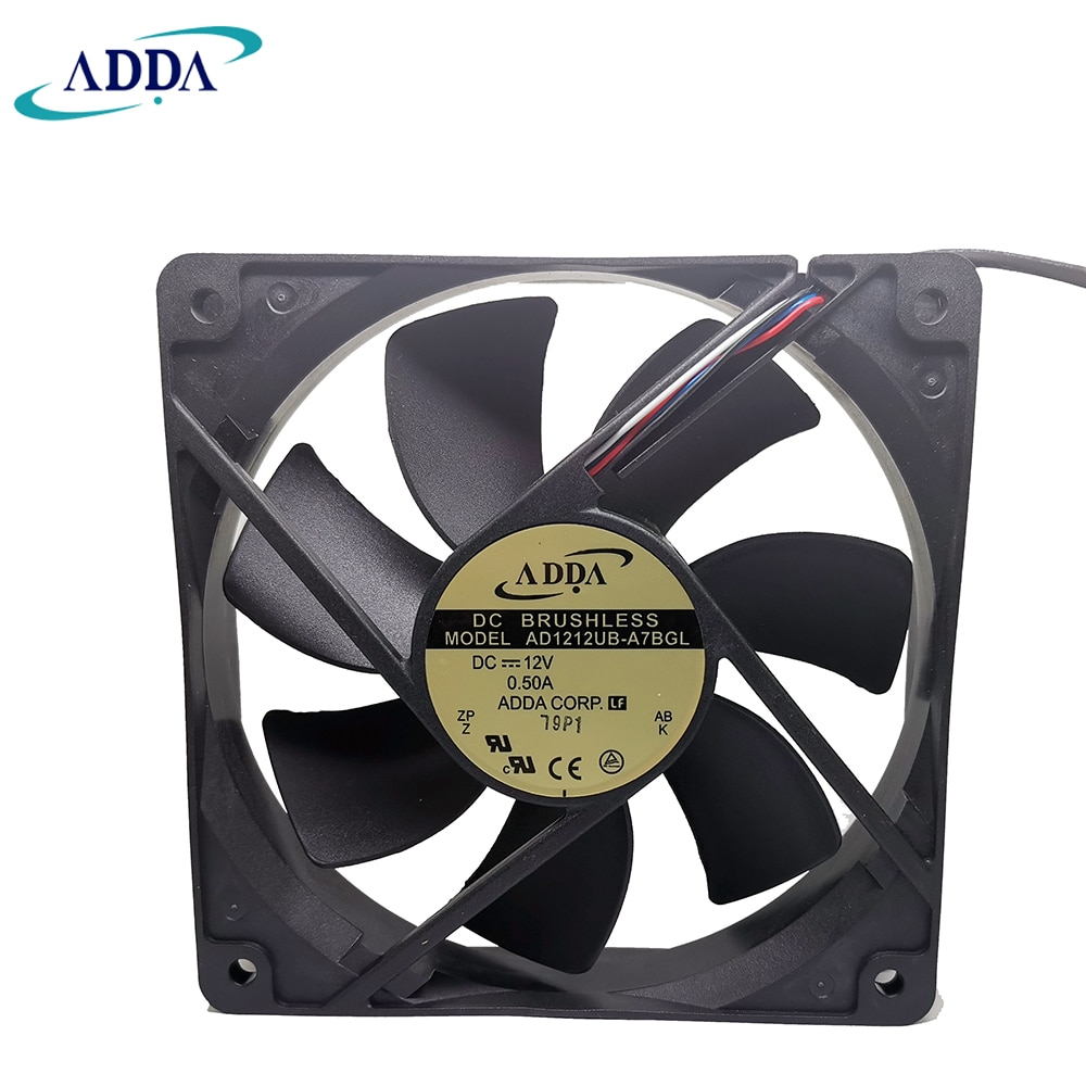 NEW FOR ADDA AD1212UB A7BGL 12025 High Airflow PMW FAN 120X25MM 12V  Computer CPU Cooler 12CM 4 wire temperature control box fan
