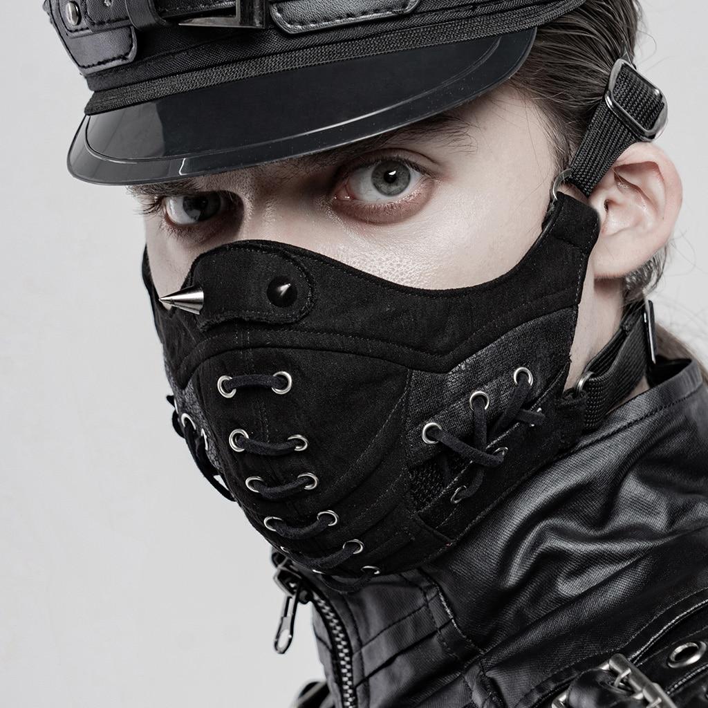 PUNKRAVE hombres Punk guapo cara tranquila máscara Steampunk de malla transpirable ajustable gancho Cosplay máscaras de Halloween