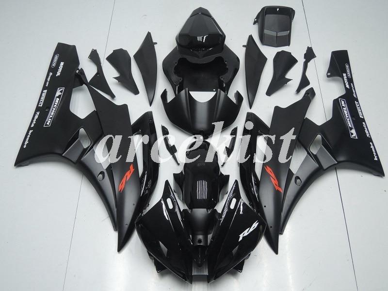 Kit de carenados de moto, nuevo molde de inyección de ABS, adecuado para Yamaha YZF 600 R6 06 07 YZF-R6 2006 2007, negro mate brillante