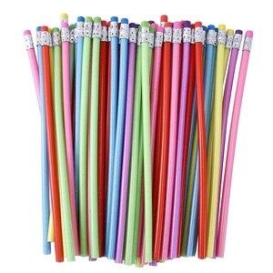 60 Pieces Bendable Pencil Flexible Bendy Soft Pencils with Eraser, Colorful