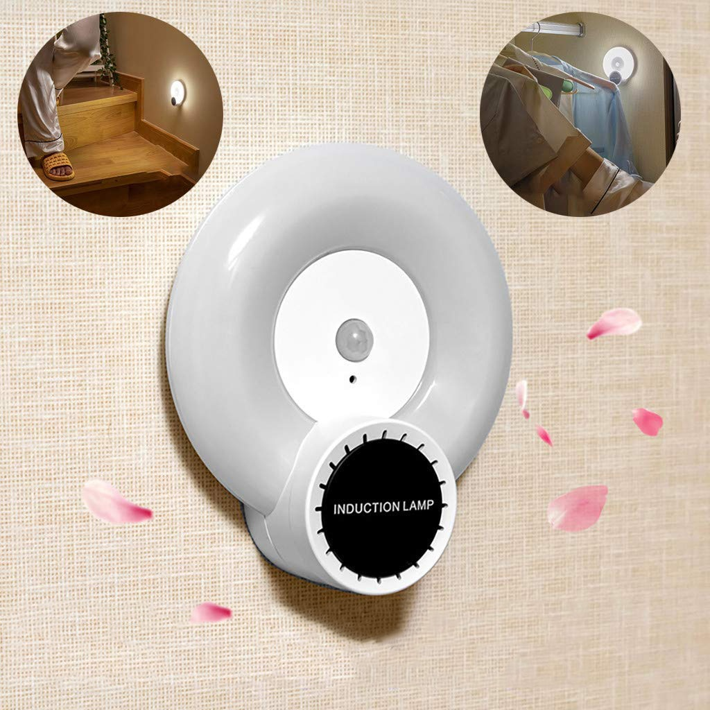 Luz de armario difusor de aceite esencial Sensor de movimiento recargable LED luz de noche con pilas para gabinete pasillo Cable USB