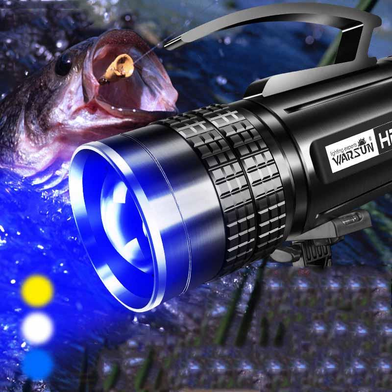 WARSUN HD80 1800 Lumens Power Bank Tunable  Zoomable USB Rechargeable Long Life Work Light Led UV Searchlight For Fishing enlarge