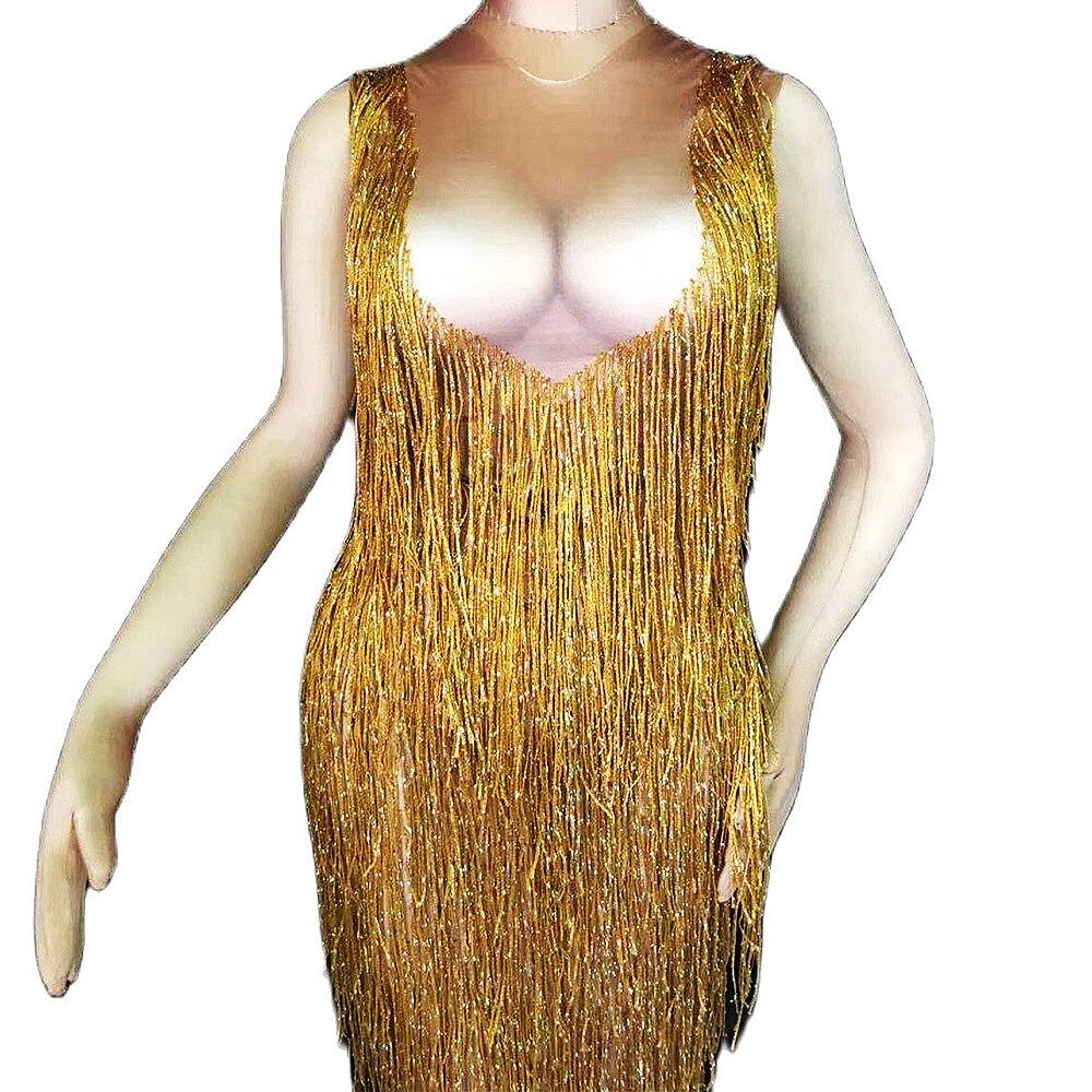 سباركلي الذهب هامش المرأة فستان طويل ملهى ليلي بار تظهر DJ المغني الأداء يوتار فستان حفلة عيد ميلاد مساء حفلة موسيقية زي