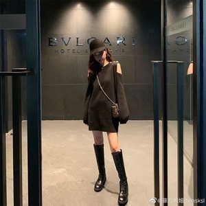 Sexy Off-shoulder Long-sleeved Black Knitted Dress Female Spring and Autumn New Style Small Base Skirt Student Nightclub Outfit