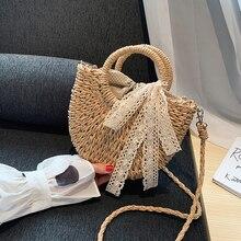 2020 été sacs à la main pour femmes plage tissage dames sac de paille enveloppé sac de plage lune en forme sacs à main avec anse Totes