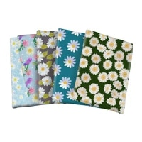 beautiful daisy flowers polyester cotton printed fabric for kids clothes hometextile curtain cushion cover diy 50145cm