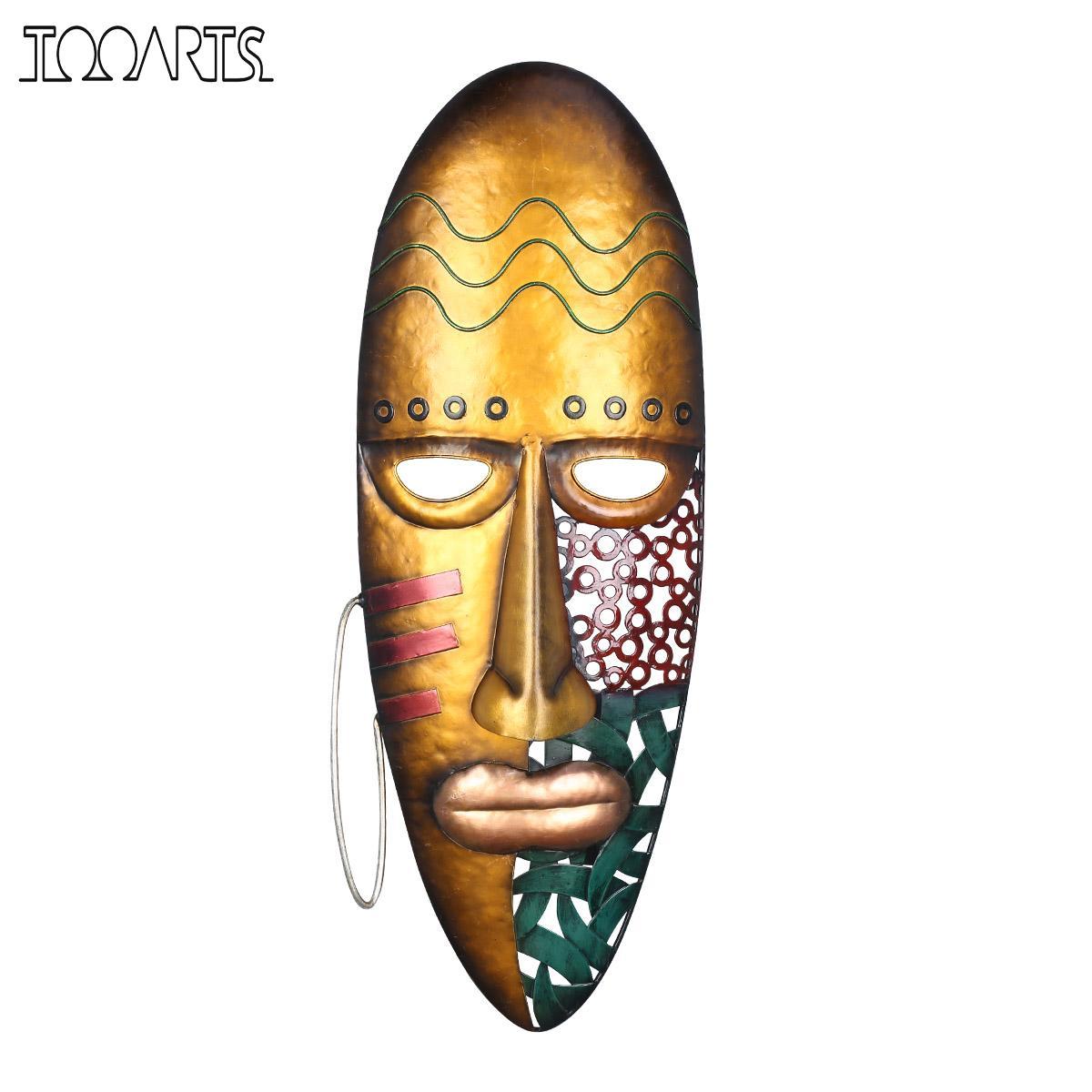 Tooarts-قناع حائط حديد معلق ، قناع وجه أفريقي ، زخرفة جدارية ، ثقافة قبلية أفريقية ، ديكور منزلي أو حديقة ملونة