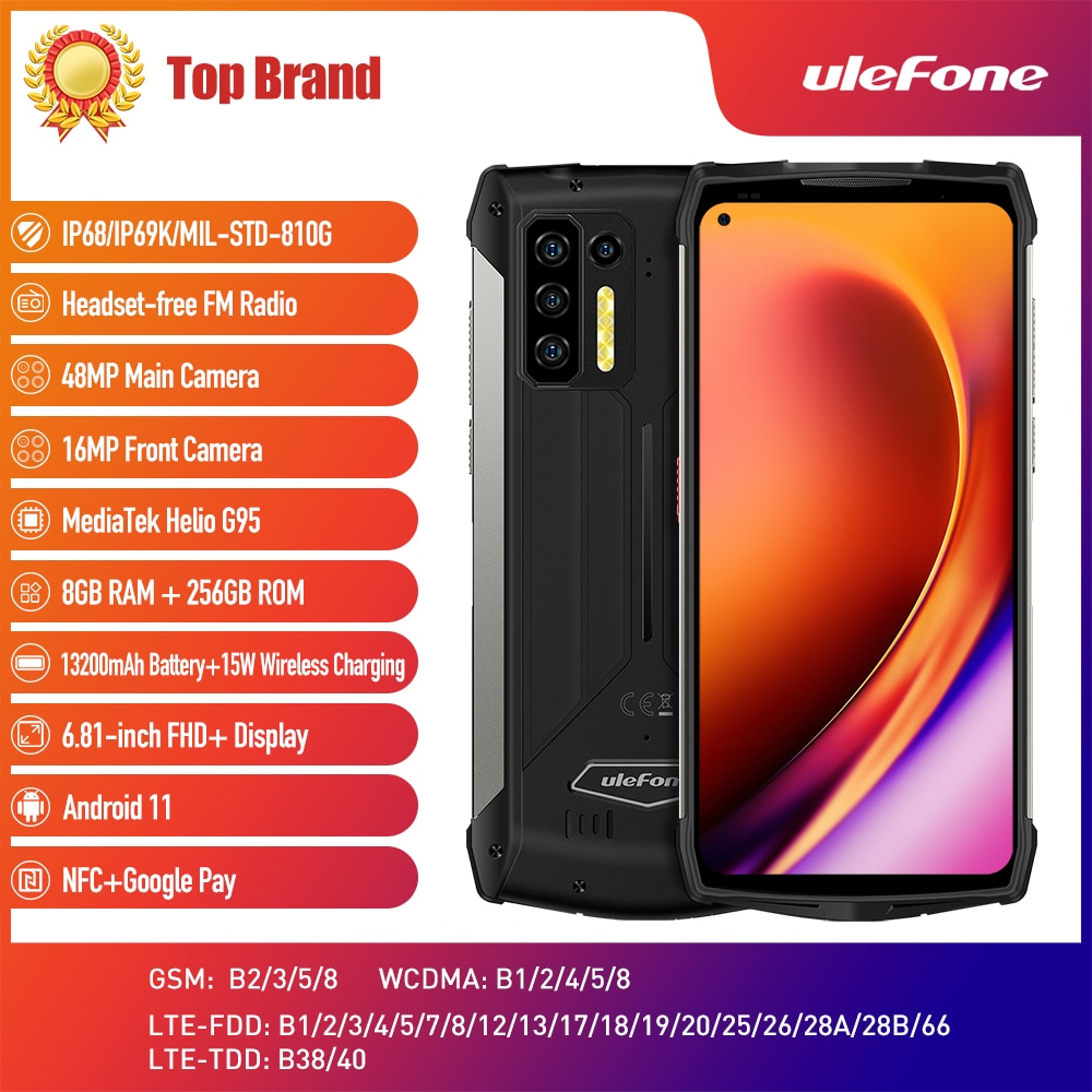 Ulefone Power Armor 13 هاتف ذكي 256GB أندرويد 11 مقاوم للماء جوّال المهامّ الوعرة 13200mAh 6.81