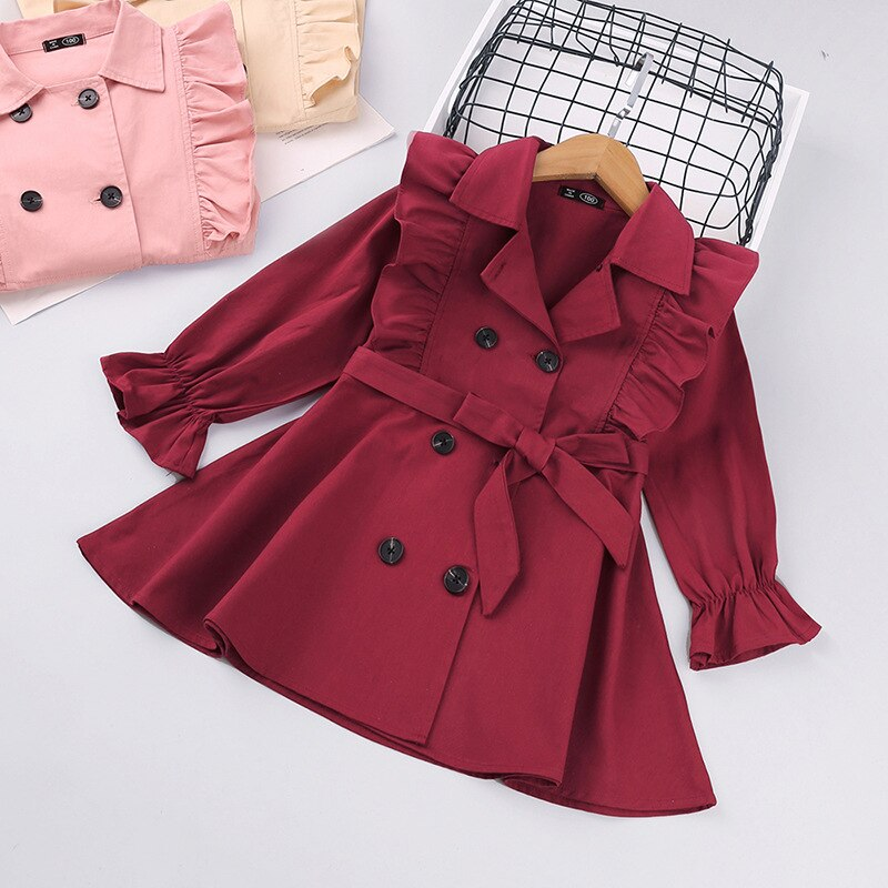 Toddler Girls Clothes Autumn Long Sleeve Fashion Trench Coats Children Solid Outerwear with Sashes Costume 2-6Y