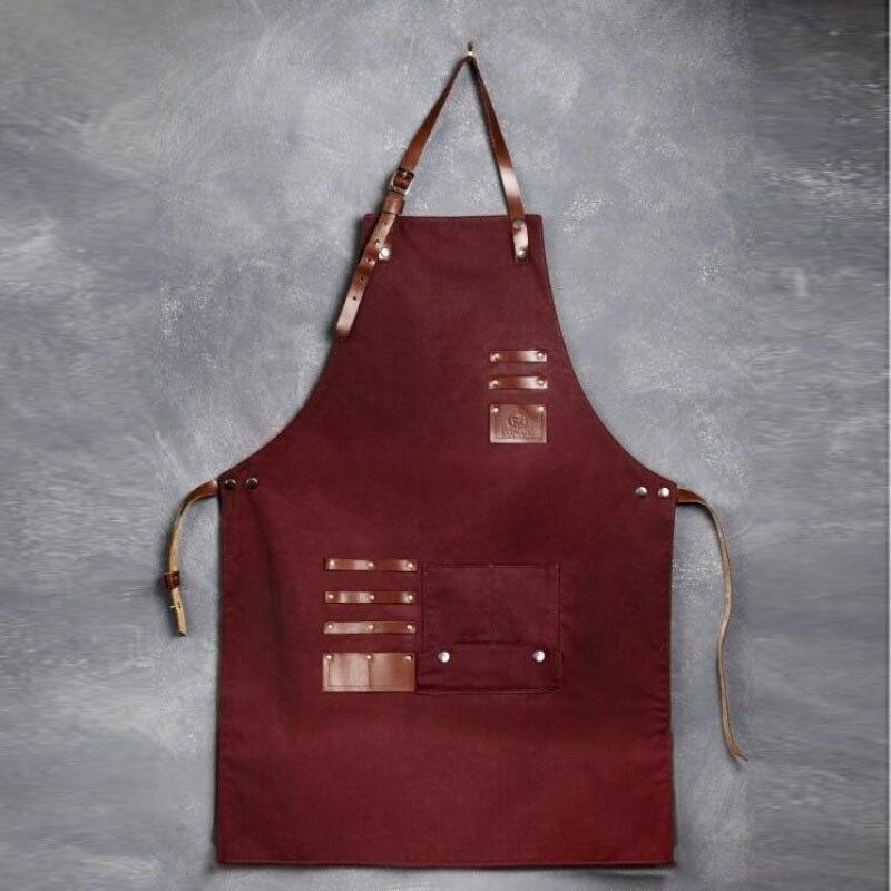 Delantal de lona con correas cruzadas y delantal de almacenamiento ajustable con cuero genuino para adultos babero bolsillos para herramientas de gran resistencia