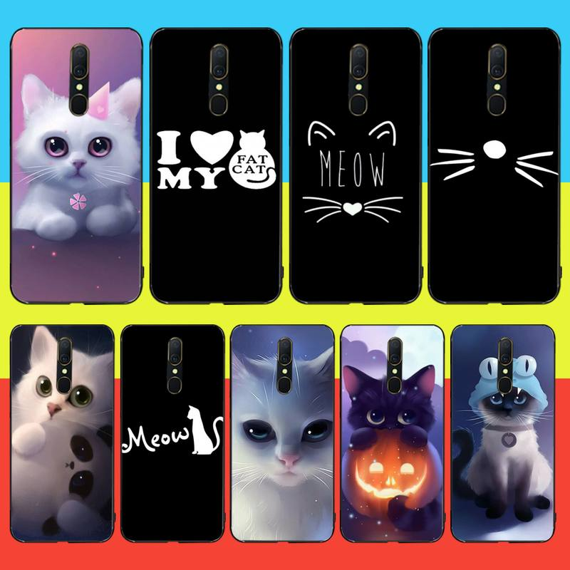 NBDRUICAI Meow, Gato encantador de lujo, diseño único, funda de teléfono para Oppo A5 A9 2020 A11x A71 A73S A1K A83