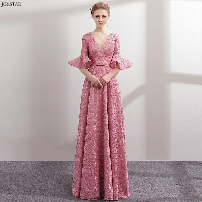 Vestidos de fiesta largos elegantes de gala para dama de honor, Vestidos de encaje con mangas con volantes, línea A, color rosa polvoriento, talla grande