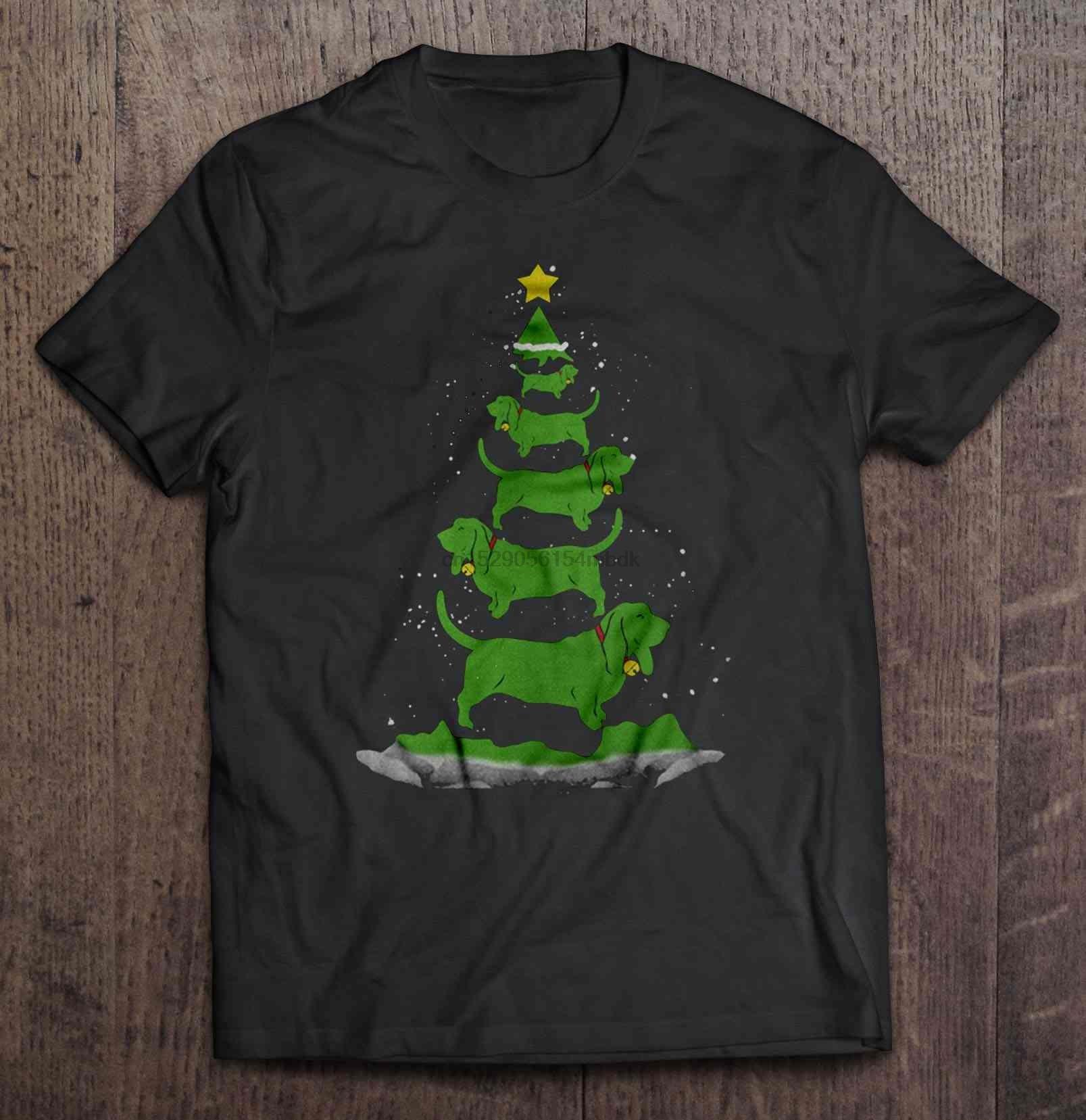 Camiseta Basset para hombre, suéter de árbol de Navidad, suéter de Navidad para mujer