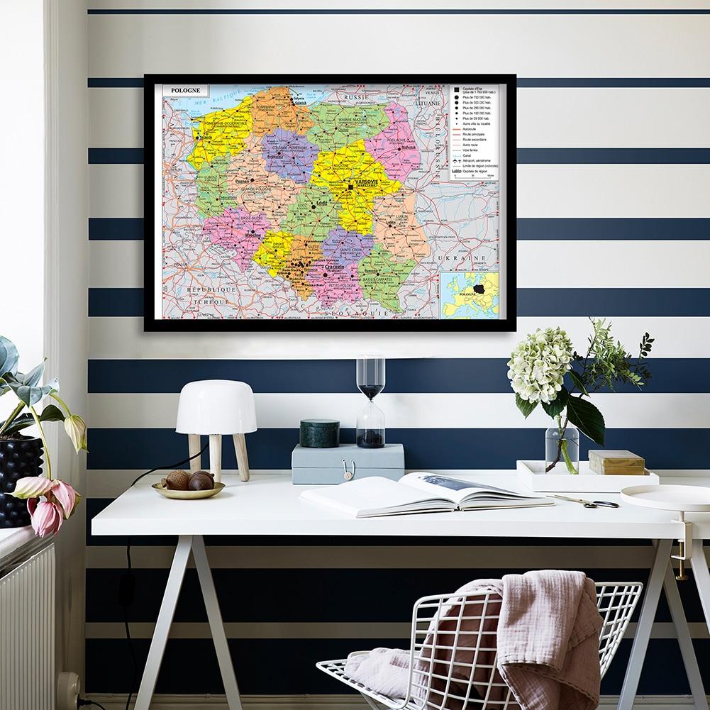 90*60 см политическая карта Польши (на французском языке) Настенная картина художественный постер картина Картина для гостиной украшение дом...