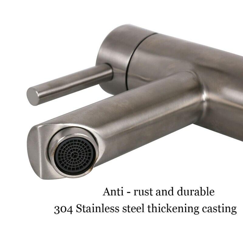 Válvula de Plástico Furo do Banheiro Inoxidável Torneira Levantamento Quente & Frio Único Aço