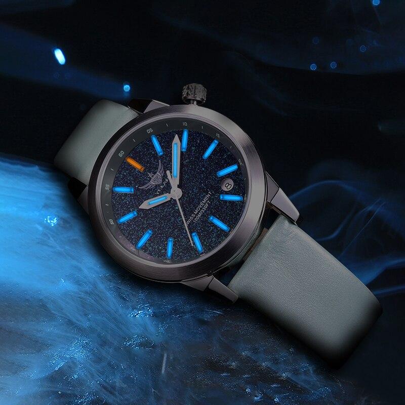Yelang Women Tritium T100 Light Watch Ronda Movement Quartz starry sky Dial Luminous Girl Dress Wristwatch Genuine Leather enlarge