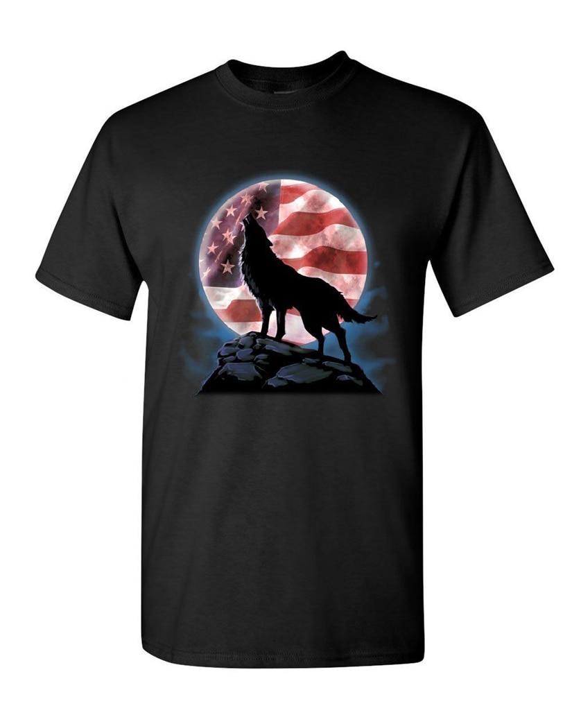 American Howling Wolf T-Shirt Wildlife Animal Wolves Wilderness Mens Tee Shirt Apparel Casual? Tee Shirt