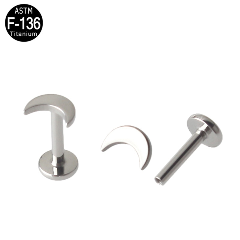 2Pcs G23 Titanium Lip Piercing Labret Moon Labret Jewelry Women Body Accessories 16G Tongue Ear Tragus Helix Piercing Jewellry