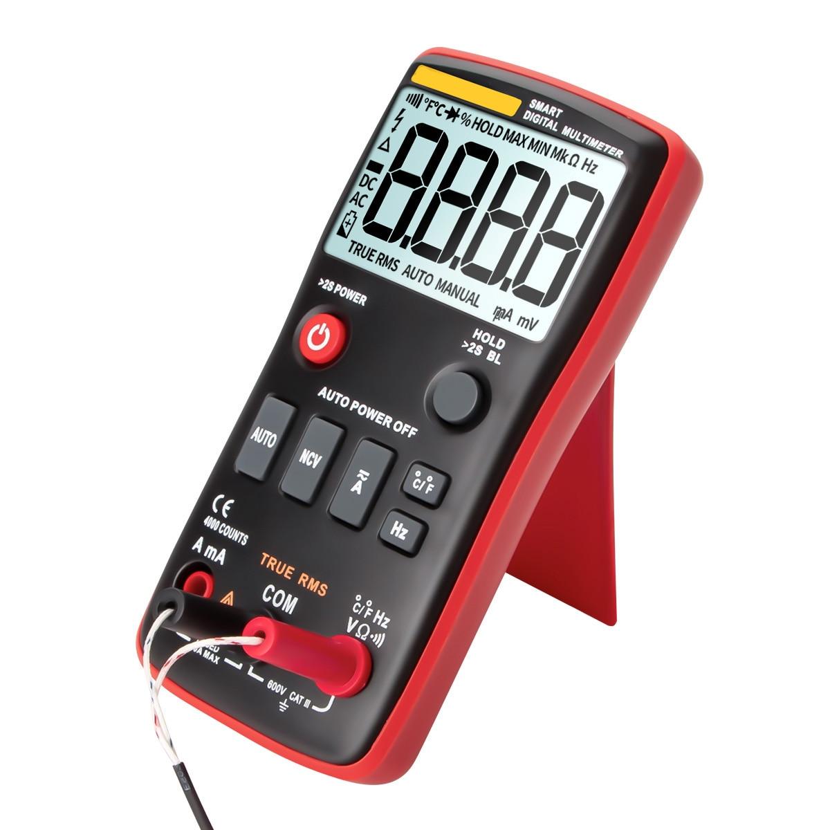 Multímetro digital multifuncional de rango automático con pantalla LCD de 4000 recuentos, medidor de voltaje de CA/CC de rango automático, compatible con True-RMS