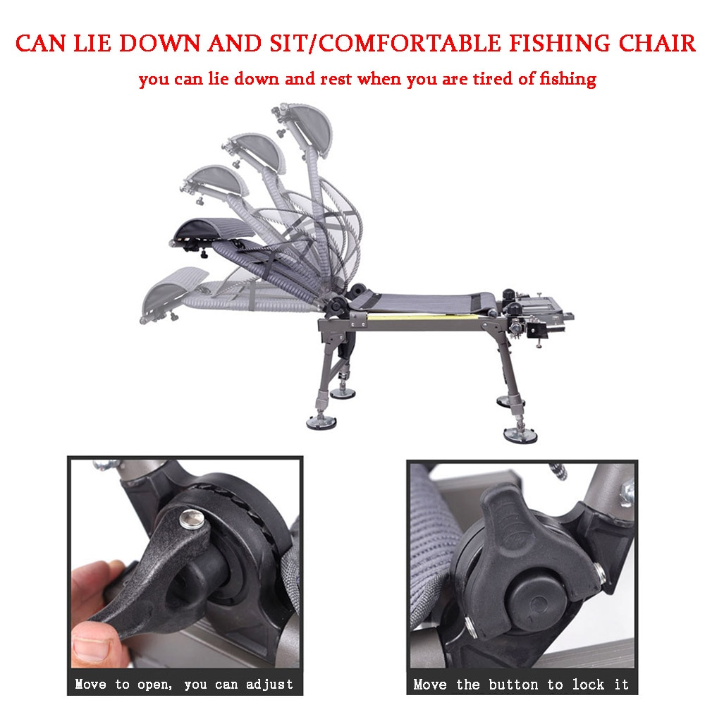 NEW Fishing Chair Thickened Aluminum Alloy Outdoor Beach Chair Foldable Fishing Chair Recliner Adjustable Portable Fishing Chair enlarge