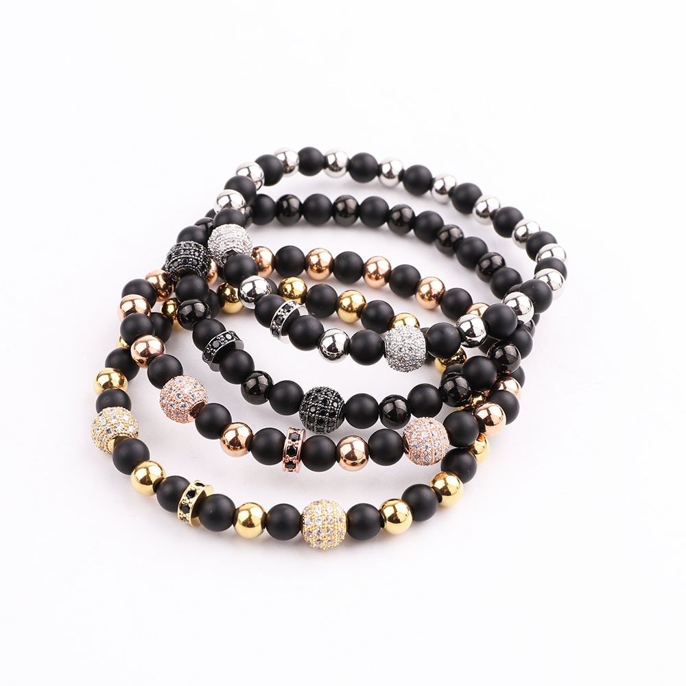 JARAVVI Classic Design Natural Stone Onyx CZ Ball Stainless Steel Elastic Bacelet Men Women Jewelry