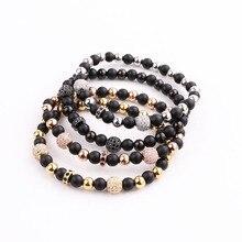 JARAVVI Classic Design Natural Stone Onyx CZ Ball Stainless Steel Elastic Bacelet Men Women Jewelry