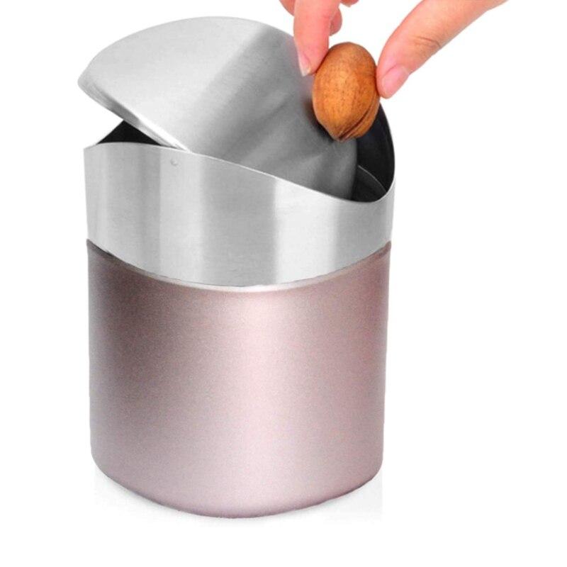 Aço inoxidável 1.5l mesa lixo bin bancada lata de lixo com tampa balanço mini lixo de escritório bancada