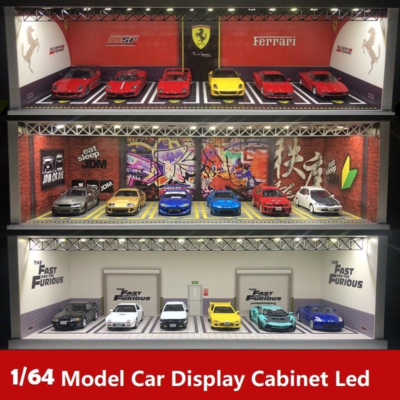 Display Cabinet Bright Scene Carport  Led Light JDM Nissan Nismo for Scale 1:64 for Model Car Diorama garage LBWK Lambo
