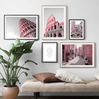 ancient building rome tower boat bridge wall art canvas painting nordic posters and prints wall pictures for living room decor