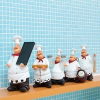 country retro chef functional furnishing articles resin crafts chef figurines white top hat cook home kitchen restaurant decor