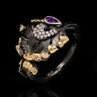 unique ginkgo leaf diamond purple zircon lady ring lady ring 925 silver party jewelry engagement bride jewelry christmas gift