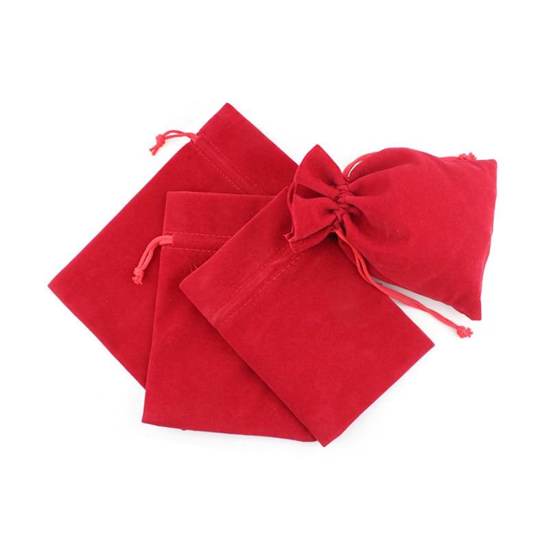 Красные бархатные тканевые мешочки для ювелирных изделий, сумки на шнурке, конфеты, конфеты, свадебные сувениры, держатели для сумок сменные сувениры цельные конфеты для мужчин