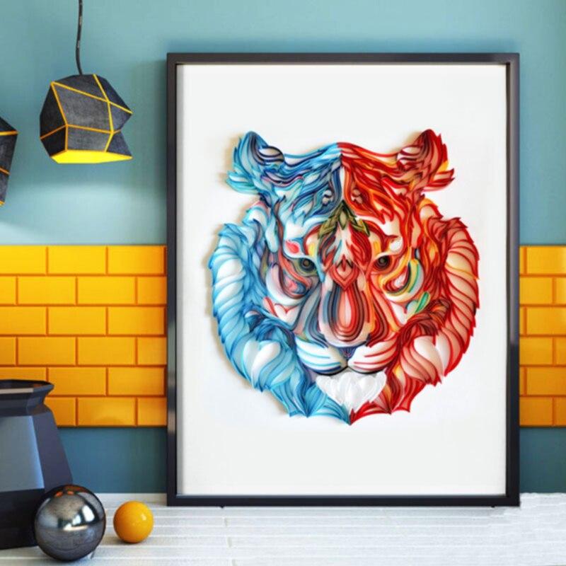 A4 caballo de papel Tigre flamenco mariposa ciervo Cisne Yan papel ilustración Kit ranura Yan papel borrador papel hecho a mano regalo Quilling