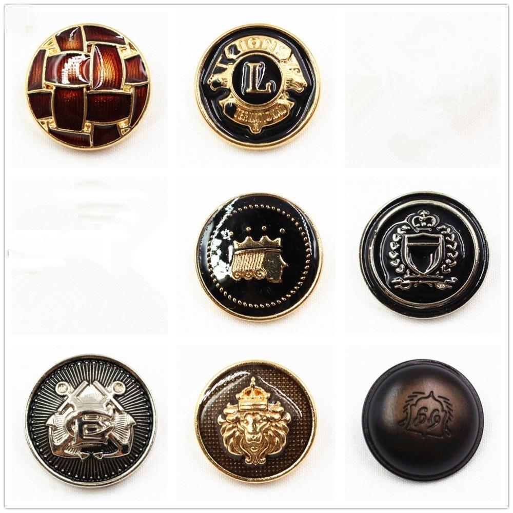 10 Uds., botones de metal de color negro de moda clásicos, materiales hechos a mano DIY, accesorios de ropa, botón de aceite de envío gratis.