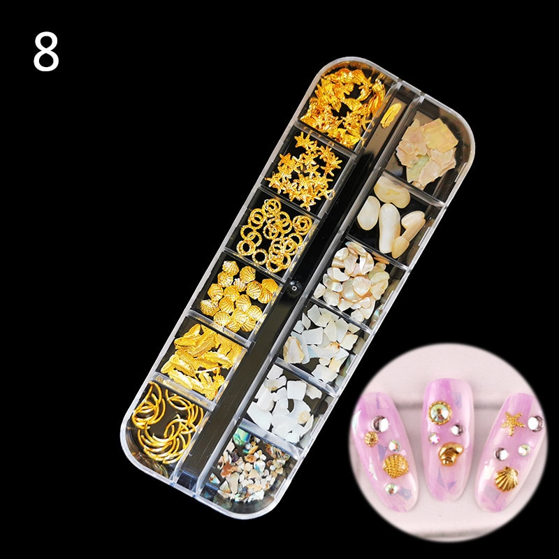 QIAOQIAO DIY 1Case Gold Silver Hollow 3D Nail Art Decorations Mix Metal Frame Nail Rivets Shiny Charm Manicure Accessories Studs 1box gold silver mix metal butterfly 3d nail art decorations nail rivets shiny charm strass manicure accessories