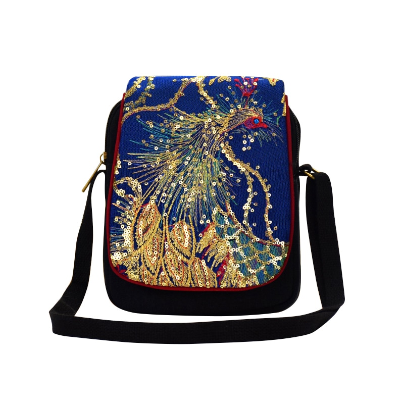 Women Shoulder Bag Hand Embroidery Sequins Peacock Bohemia Style Retro Canvas Shopping Small Messenger Bag for Teenager Girls