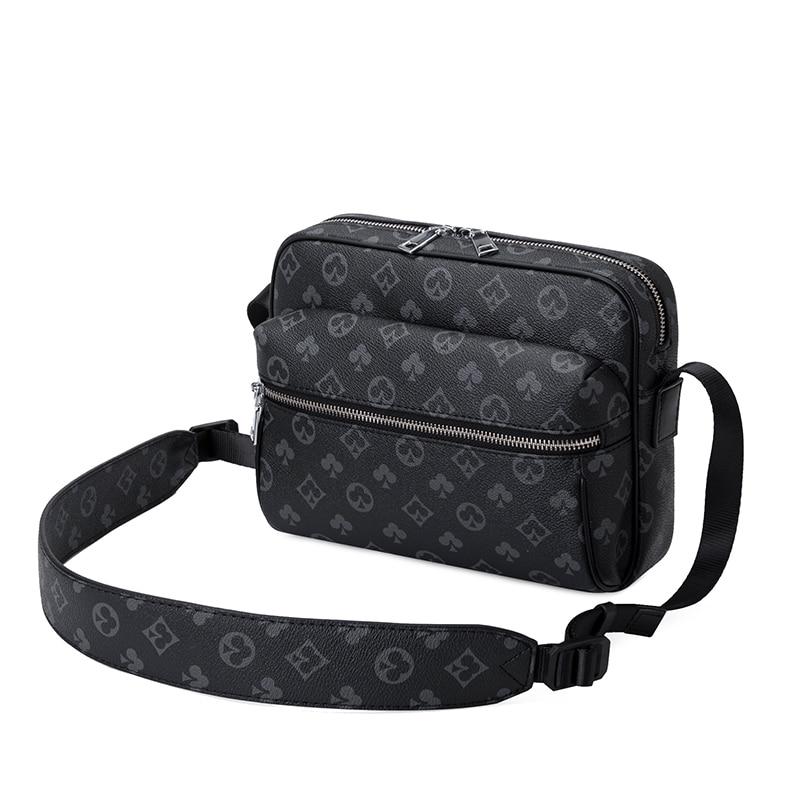 Vintage Leather Messenger Bag Men Crossbody Bag PU Leather Fashion Crossbody Bag Clutch-Bag Male Leather Floral Printing Bags