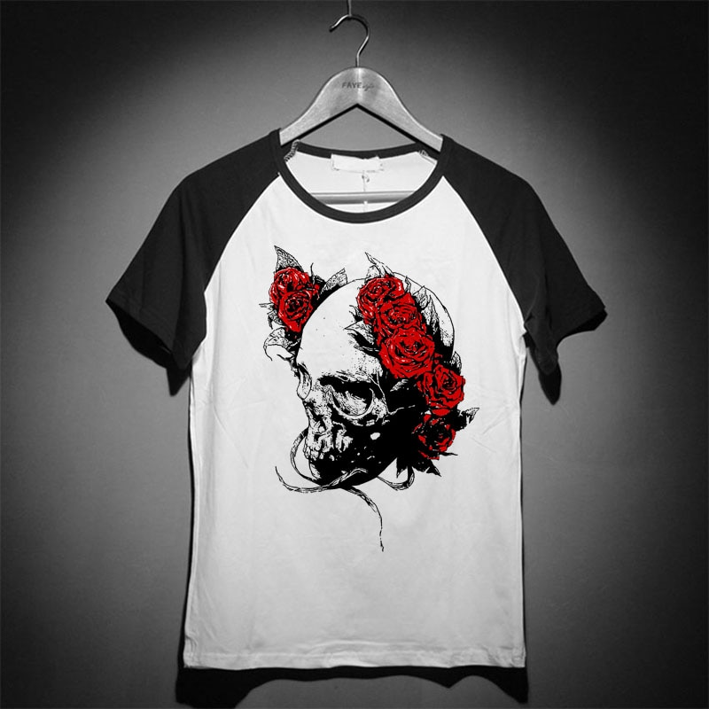 Calaveras y rosas heavy metal rock punk goth música vintage tatuaje hombres mujeres camiseta raglan ringer mangas cortas Camisetas cuello redondo
