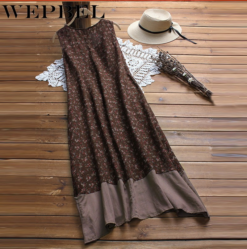 WEPBEL Women Dress Boho Sleeveless V-neck Causal Loose Vintage Floral Patchwork Summer Long Dress S-5XL
