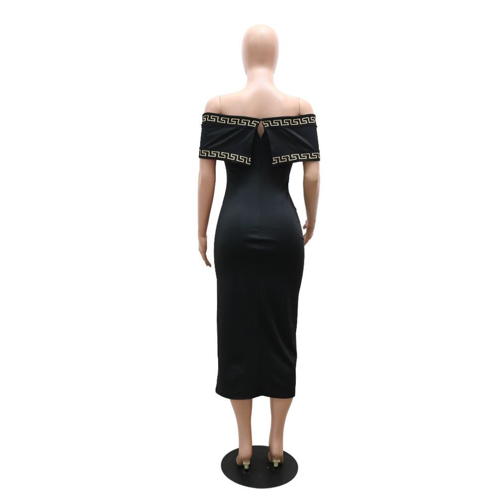 Off Shoulder Dress Fashion Party Wear Sexy Black Maxi Dresses For Women Sheath Side Split Elegant Female Clothing Summer