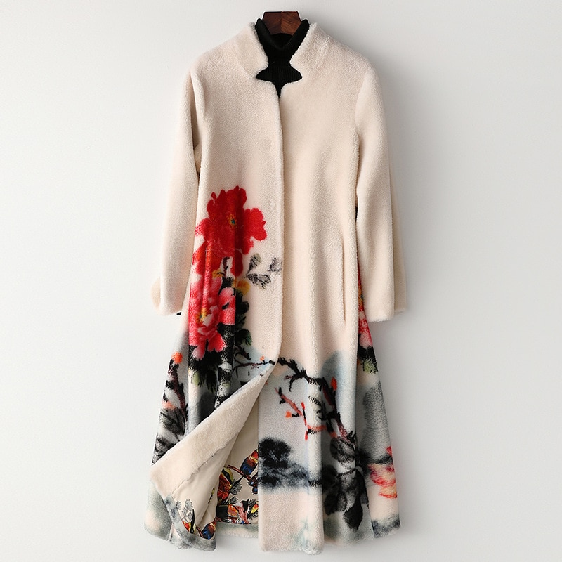 Fashion Sheep Fur Collar Wool Flower Printed Coat Long Winter High Quality Jacket Luxury Overcoat Thick Warm Wear with Pockets