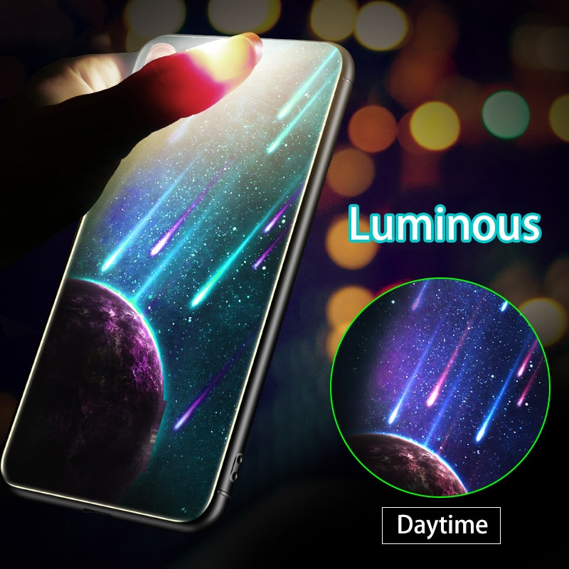 Luxo caso de telefone de vidro luminoso para samsung galaxy s8 s9 s10 mais nota 10 mais capa para samsung s10plus s10 + coque