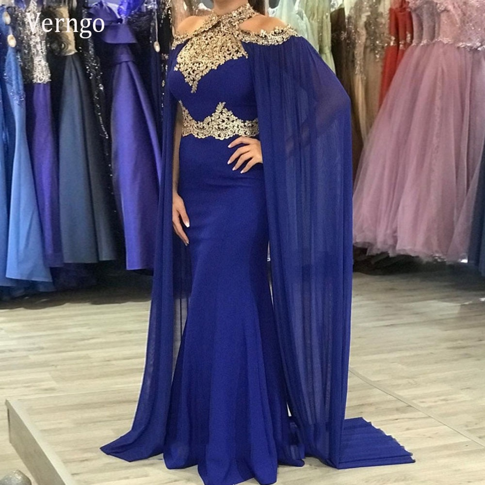Verزهرية-فستان سهرة حورية البحر باللون الأزرق الملكي ، فستان سهرة مزين بالدانتيل الذهبي ، رقبة رسن ، شيفون ، مع كيب ، مقاس كبير