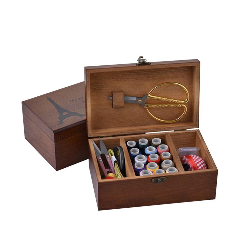 3 rejillas de almacenamiento de herramientas de costura de madera set de regalo con Kit de herramientas de costura accesorios respetuoso con el medio ambiente aguja para hilo soporte de almacenamiento
