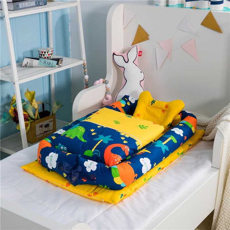 6-piece Foldable Removable and Washable Portable Baby Nest Crib Bed Bionic Diaper Changing Pad Baby Pillow Travel Crib Protector