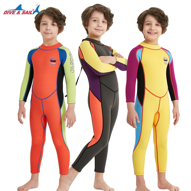 2.5 مللي متر بدلة غطس للأطفال قطعة واحدة كم طويل لباس سباحة دافئ و واقي من الشمس الغوص بدلة رياضة الربيع الساخن