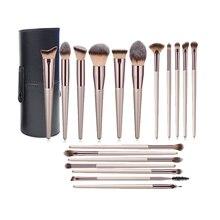 Makeup Brush Set 18 Pcs Foundation Powder Concealers Eye shadows Blush Makeup Brush Champagne Gold Cosmetic Brushes with Holder